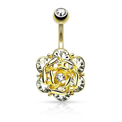 Piercing ombelico fiore in acciaio chirurgico 3316l – piercing banana di colore argento o colore oro con zircone bianco – gioiello per il corpo per donna