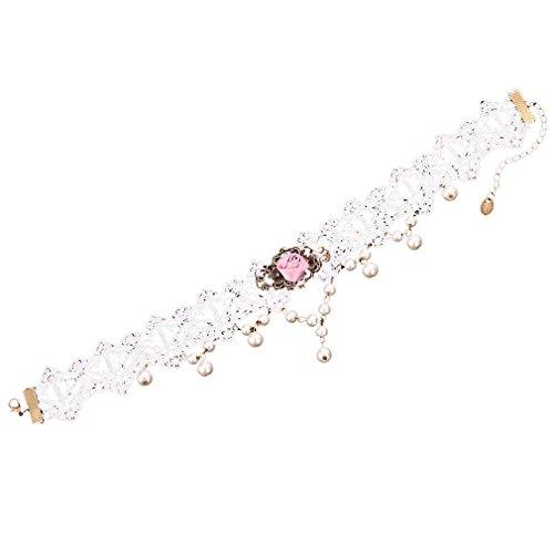 Yazilind Schmuck Nizza White Lace Pink Rose Retro-MetallvenezianischenPerle Halsband verstellbar Kette für Frauen (Burlesque Kostüm Designer)