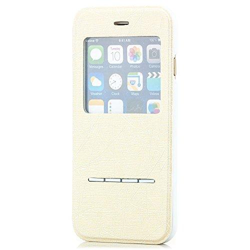 Saxonia Flip Tasche für Apple iPhone 6 6S Schutzhülle Case mit Smart-Slide Funktion zur Anrufannahme Schwarz Creme