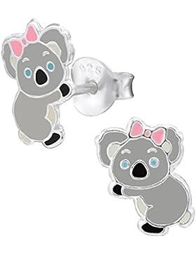 So Chic Schmuck - Kinder Ohrstecker Koala Emaille Farbe Sterling Silber 925
