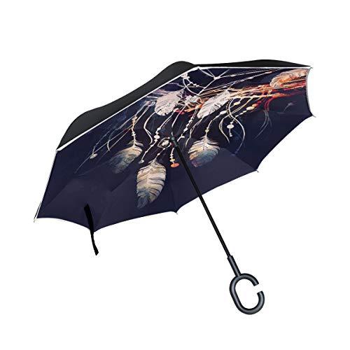 XiangHeFu Paraguas invertido de Doble Capa de atrapasueños de Ramas de árbol, Plegable, Resistente al Viento, protección UV, Gran Recto, para Coche, con Mango en Forma de C