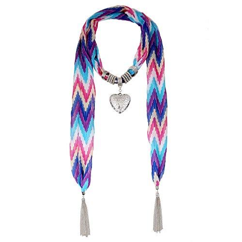 Lureme® stile bohemien-epoca ciondolo cuore collana tono rodio nappa sciarpa (01003130) a più (Tono Oro Nappa)