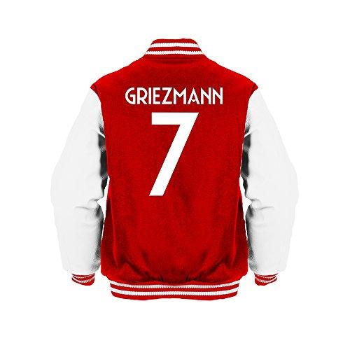 Antoine Griezmann 7 Club Player Style Kids Varsity Jacket Red/White/White, Large Boys (9-11yrs)