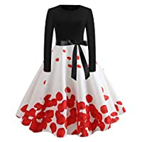 ✿Kword Abito Vintage Anni 50 60 Festa Rosso Pois Nero Manica Colletto Vestiti  Donna Manica Lunga Abiti Donna Invernale a1a20e5f79a