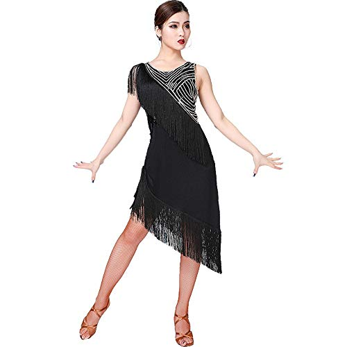 Tanz Kostüm Wettbewerb Für Verkauf - Damen tanzen Rock Frauen Latin Dance Kleid ärmellos asymmetrische Pailletten Fransen Rumba Samba Tango Gesellschaftstanzbekleidung Performance Wettbewerb Tanz Kostüm ( Farbe : Schwarz , Größe : XL )