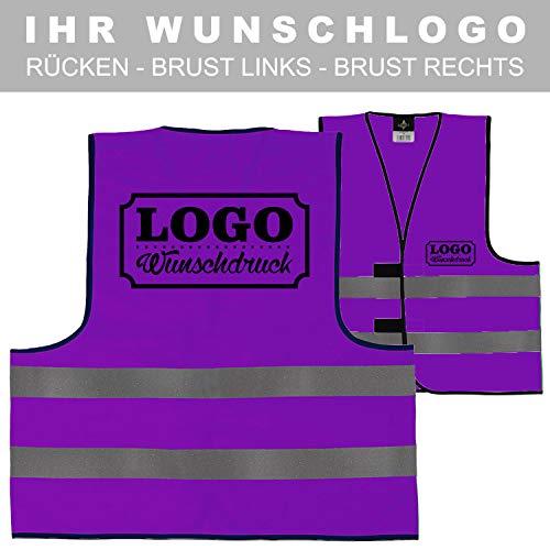 Warnweste Signalweste Sicherheitsweste bedruckt mit Wunschlogo Name Text Motiv VIOLETT Rücken + linke Brust Violett-motiv