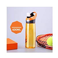 caomei Fashion high-end fashion outdoor orange plastic water bottle portable handle button cover straw sports bottle 600 ml