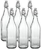 Set 6 pezzi Bottiglia vintage Cerve Milly da 1 litro elegante con tappo meccanico ermetico per acqua olio bevande preparazione e conserva cocktail