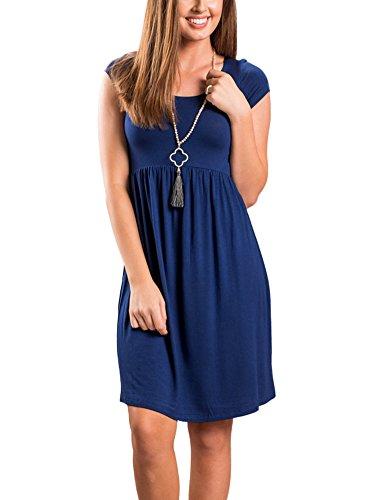 Minetom Donne Estiva Comodo Collo Rotondo Manica Corta Midi Vestito al Ginocchio Elegante Colore Puro Una Linea Abito Spiaggia Blu