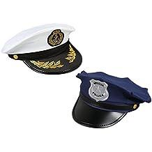 Juvale - Conjunto de 2 gorras  de policía y capitán ... 5c7cd574820