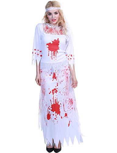 Haben Kostüm - TUTOU Horror Halloween, Menschen, die Angst vor abrupt Erwachsenen Frauen Party Masken dekorative Requisiten blutigen Horror blutige Braut Zombie Kostüme haben,L