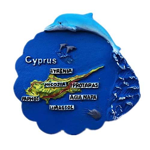 elphin Karte Zypern 3D Harz Handgefertigte Handwerk Tourist Travel City Souvenir Sammlung Brief Kühlschrank Aufkleber ()
