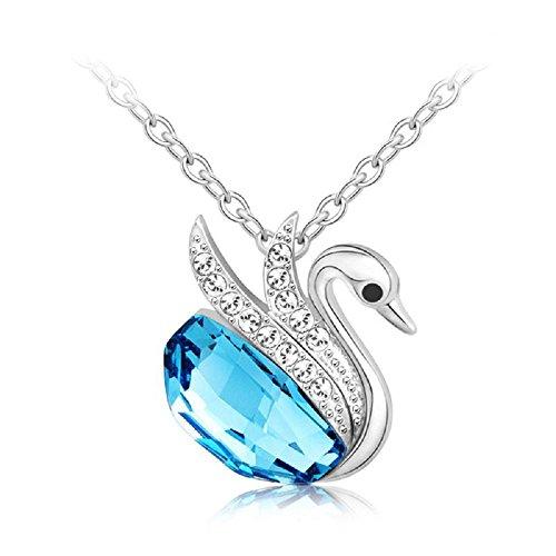J&F - Collana da donna con pendente cigno e cristallo Swarovski Crystal blu, placcata Rodio