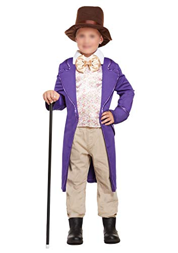 Janisramone Kind Jungen Neu Schokolade Fabrik Inhaber Willy Wonka Roald Dahl Kostüm Kinder Buch Woche Tag Fancy Kleid Outfit (Schokolade Kostüm Fabrik)