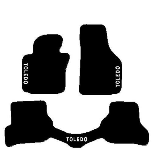 Seat Toledo a partir de 2004Alfombras para coche con trasera iPad, juego completo de alfombrillas sobre tamaño de moqueta negro con bordado de hilo Bianco