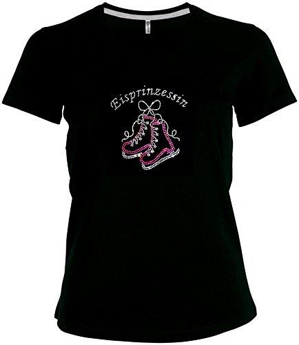 Fun Shirt Schriftzug Eisprinzessin mit Schllittschuhen Strass Eislaufshirt V-Ausschnitt Karneval Fasching Kostüm, T-Shirt, Grösse S, (Frauen Kostüme Für Eiskunstlauf)