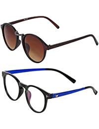 Vast Combo Of 2 UV Protection Full Rim Spectacle Frame And Double SHADED Retro Round Unisex Sunglasses (BLKBLUE_GUNBROWN)
