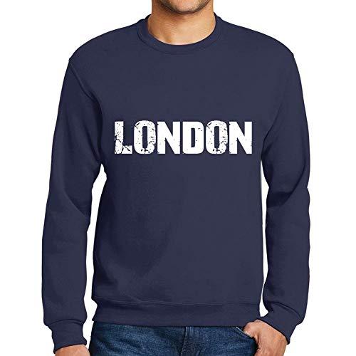 Ultrabasic Herren Grafik-Print Sweatshirt Popular Words London Französisch Marine