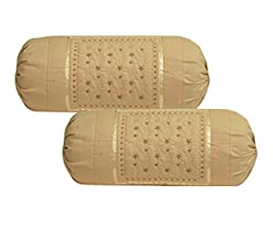 Rj Products™ Cotton Bolsters Cover Beige - Pack of 2 Beige Color