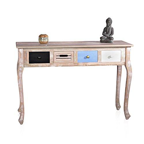 Melko® Sekretär Anrichte Shabby Chic Braun 40 x 110 x 74 Schreibtisch Schminktisch Sideboard