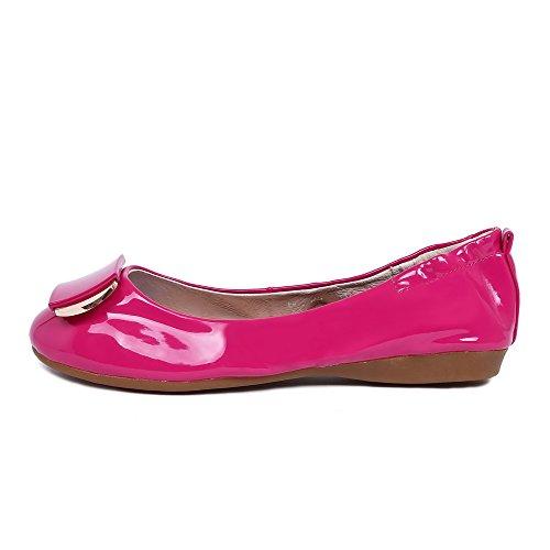 VogueZone009 Femme Rond Tire Pu Cuir Couleur Unie à Talon Bas Chaussures Légeres Rouge