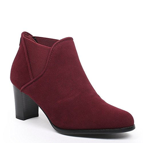 Ideal Shoes–Scarponcini a tallone stile Chelsea Thara Rosso