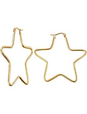 B.Z La Vie Damen Ohrringe Creolen 5 cm Stern Simpel Goldfarben Mädchen Geschenk