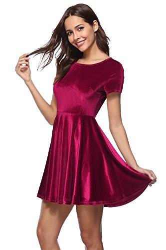 Damen Samt Party Kleid Cocktail Vintage 50er Kleid Schwingen Pinup Ballkleid Rockabilly Abendkleid Minikleid Kurzarm Rotwein