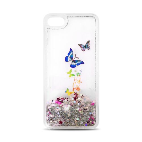 """FUN CASE Schmetterling Butterfly für Apple iPhone 7 4,7"""" Handy Cover Hülle Case Glitzer Sterne Flüssig Sternenstaub (dunkel blau) silber"""
