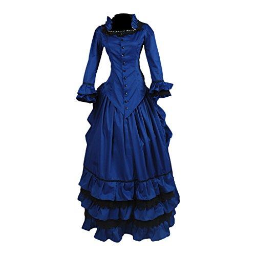 Partiss Damen Frauen Koenigblau Viktorianisch Gotisch Abschlussball Cocktailparty Ballkleid Lolita...