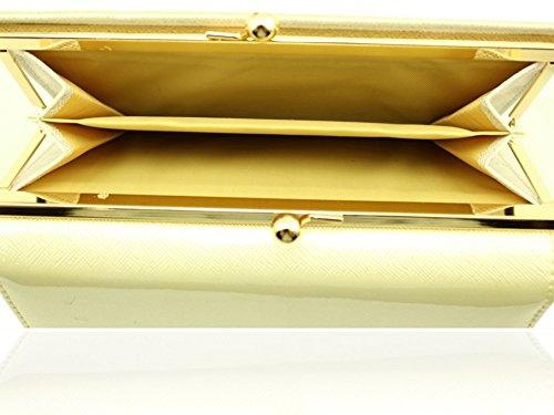 LeahWard® Damen Kunstleder Geldbörsen Brieftasche Münze Tasche Geldbörse Für Sie Kussverschluss Geldbörsen BEIGE SHINNY Geldbörse