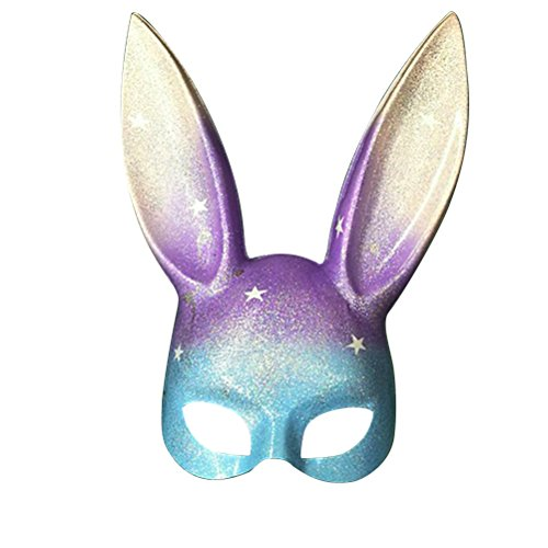 Tinksky Maskerade Gesichtsmaske Bunny Rabbit Maske Ostern Party Supplies Kostüm Cosplay Zubehör (Rainbow Glitter)