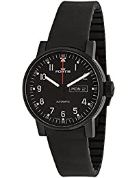 Fortis Spacematic Pilot Professional Black PVD Mens Silicon Strap Watch Day Date 623.18.71.SI.01
