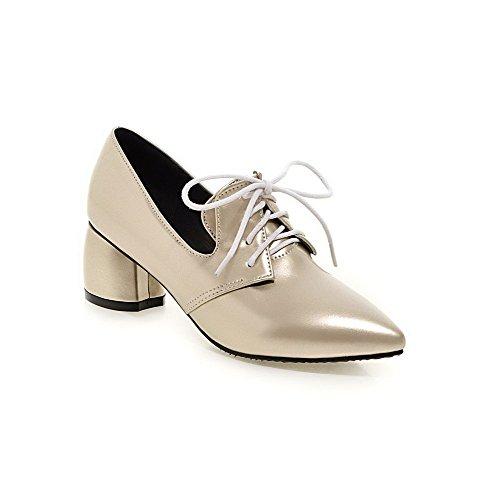 VogueZone009 Femme Verni Pointu à Talon Correct Lacet Couleur Unie Chaussures Légeres Doré