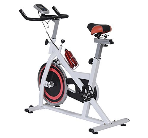 Homcom Hometrainer Indoorsportbicycle Exercise Bike Fitness LED-Display, Weiß/Schwarz/Rot, A90-021