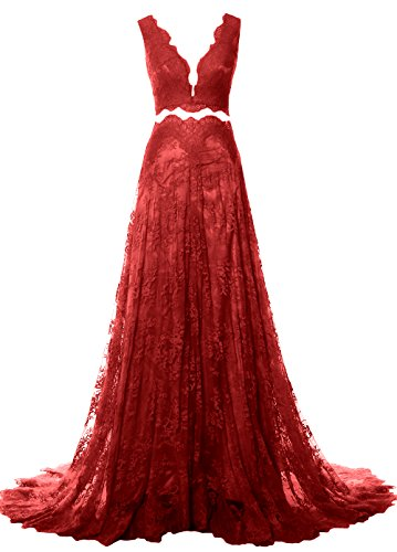 MACloth Women 2 Piece Long Prom Dress Straps V Neck Lace Formal Evening Gown Burgundy
