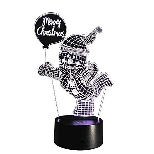 Izzya 3D Décoratif Veilleuse Joyeux Noel Tag Et Bonhomme De Neige Sept Couleurs Réglable Touch Switch + USB Power + Alimentation De La Batterie- Cadeau De Noel