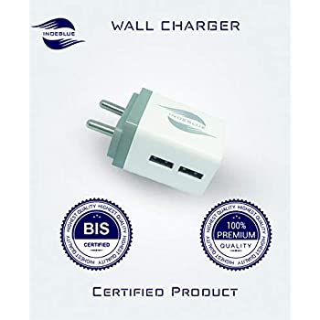 IndeBlue 2.0A BIS Certified High-Speed Plastic 2 Port USB Plug Power Adaptor Wall Charger