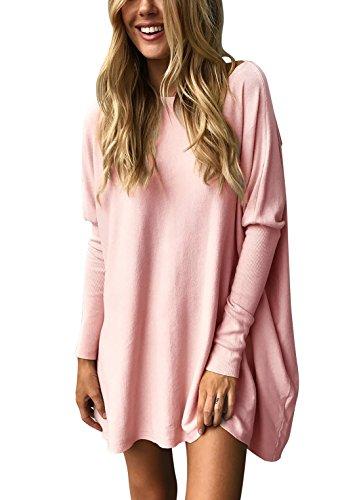 Yidarton Winter Damen Langarm Pullover Casual Lose Sweatshirt Lang Oversized Bluse Oberteil (X-Large, A-Rosa) (Leggings Pullover Lange)
