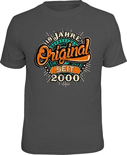 RAHMENLOS Original Geschenk T-Shirt Zum 18. Geburtstag: Original 18 Jahre Seit 2000 L (18)