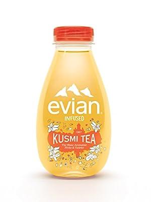 Evian Infused Kusmi Tea - Thé Blanc, Pêche, Violette - Pack de 12 bouteilles de 37cl