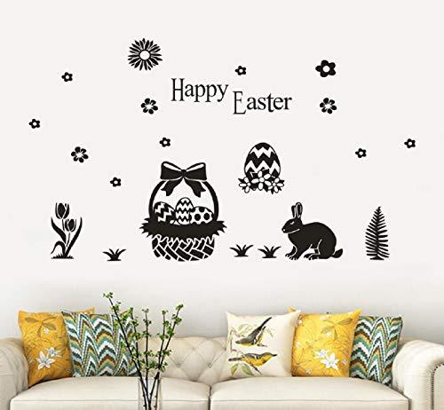 Koojawind Wandtattoos, Ostern Dekorationen Ostereier Aufkleber Ostern Fenster Klammert Bunny Aufkleber Ostern Wand TüR Boden Dekor