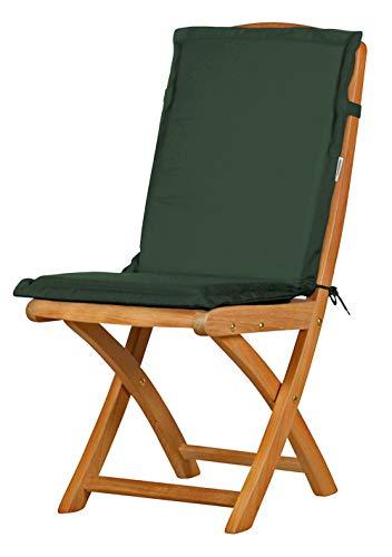 2 x Dunkelgrüne Sitzauflage für Garten-Stühle & Klappstühle, 88 x 40 cm   Premium Polster-Auflage aus lichtechtem Dralon ✓ Maschinen-waschbares Stuhl-Kissen für Gartenmöbel ✓ Höchster Sitzkomfort