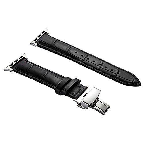 AUTULET Unisex Leder Uhrarmband schwarz 38mm kompatibel mit der Apple Watch-Serie 1 2 3