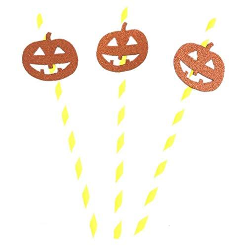 AMOYER 10Pcs Halloween Horror Papier Strohhalm Halloween Dekoration DIY Strohe Foto Props Kürbis