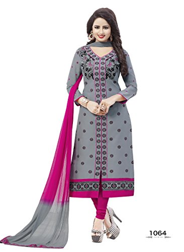 Stylenme Women's Cotton Embroidery Grey salwar kameez suit set, Free Size