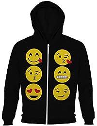 Sweats à capuche pour fille avec impression d'emoticône de visages d'enfants souriants