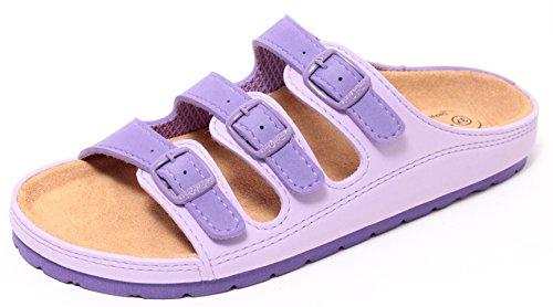 Damen Bio Clogs Tieffußbett Pantolette Sandale Slipper Schuhe LAVENDEL Gr. 37-41 (40) (Pantoletten Clogs Und)
