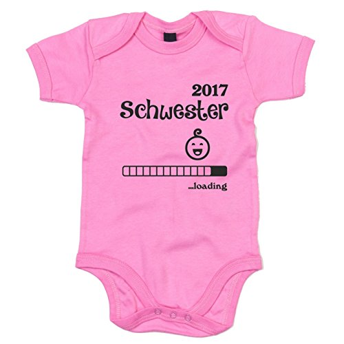 Baby Body - Schwester 2017 ...loading - von SHIRT DEPARTMENT, rosa-schwarz, 50-62