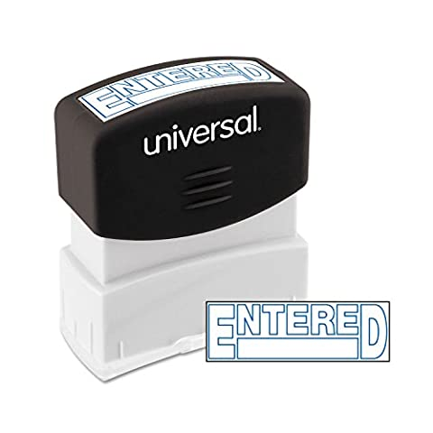 Message Stamp, ENTERED, Pre-Inked/Re-Inkable, Blue, Sold as 1 Each